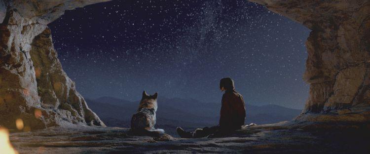 Wolf Alpha en mens Keda in een comfortabele grot, waar ze niet bleven.