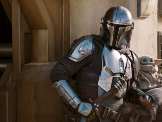 The Mandalorian (Pedro Pascal) en The Child/Baby Yoda in seizoen 2 van The Mandalorian. Disney+.