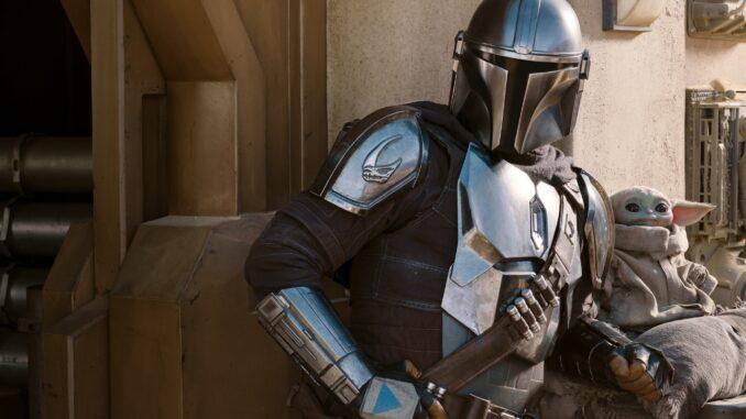 The Mandalorian (Pedro Pascal) en The Child/Baby Yoda in seizoen 2 van The Mandalorian. Disney+.